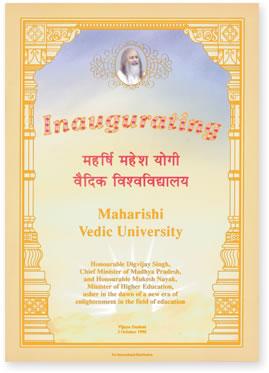 Inaugurating Maharishi Vedic University